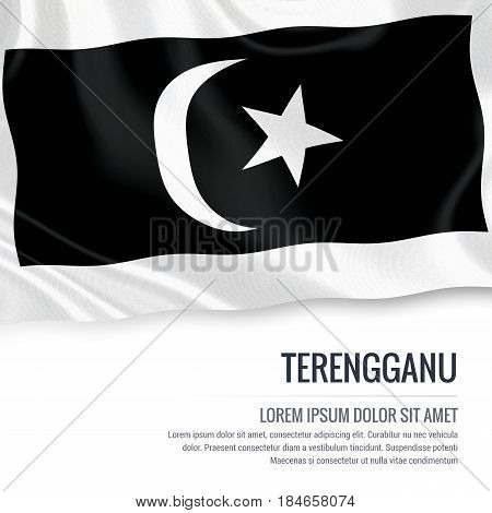 Terengganu flag. Flag of Malaysian state Terengganu waving on an isolated white background. State name and the text area for your message. 3D illustration.