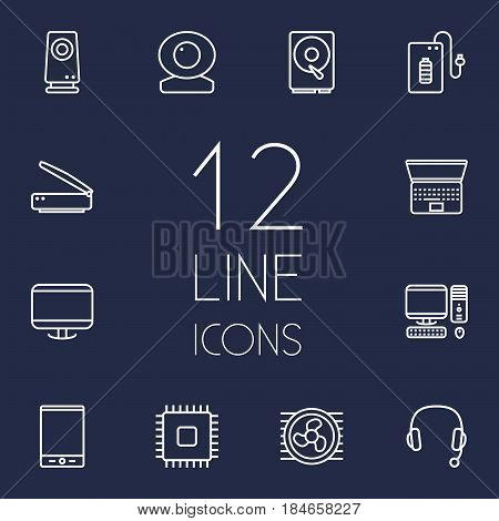 Set Of 12 Laptop Outline Icons Set.Collection Of PC, Laptop, Web Cam And Other Elements.
