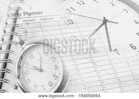 Clocks, year planner and calendar