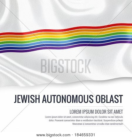 Russian state Jewish Autonomous Oblast flag waving on an isolated white background. State name and the text area for your message. 3D illustration.