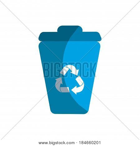 blue can trash with reuse, reduce and recycle symbol, vector illustration design