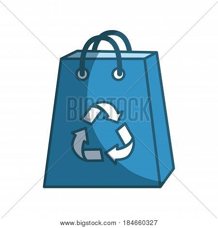 blue bag with reduce, reuse and recycle symbol, vector illustration
