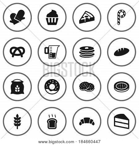 Set Of 16  Icons Set.Collection Of Snack, Sack, Dessert And Other Elements.