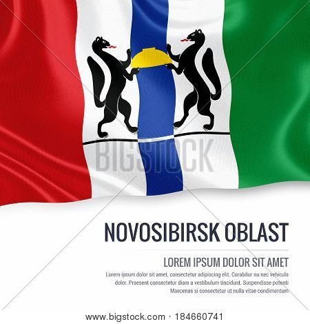 Russian state Novosibirsk Oblast flag waving on an isolated white background. State name and the text area for your message. 3D illustration.
