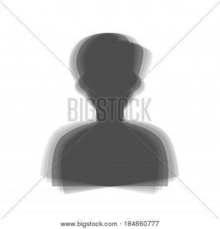 User avatar illustration. Anonymous sign. Vector. Gray icon shaked at white background.