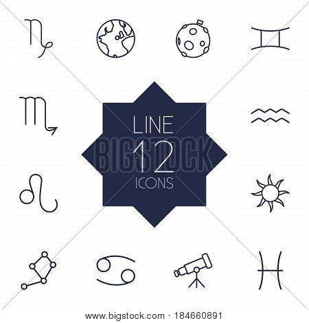 Set Of 12 Galaxy Outline Icons Set.Collection Of Sun, Leo, Capricorn And Other Elements.