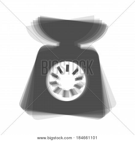 Kitchen scales sign. Vector. Gray icon shaked at white background.