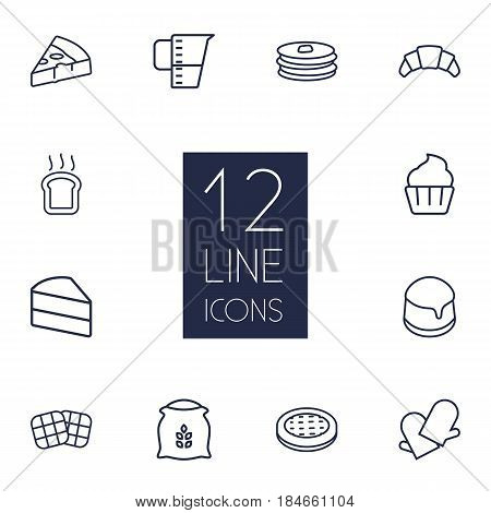 Set Of 12 Stove Outline Icons Set.Collection Of Measuring Cup, Croissant, Pizza And Other Elements.