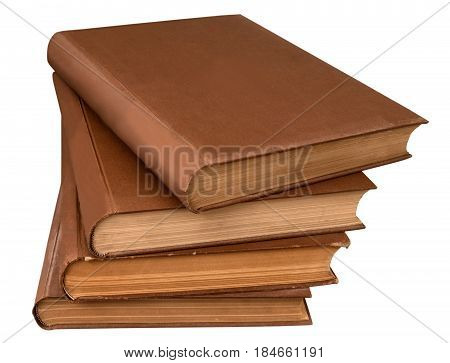 close-up stack of old books isolated on white background