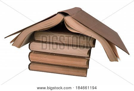 house of old books isolated on white background