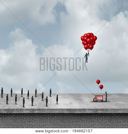 Selfish business concept as a greedy businessman buying most of the balloons to succeed as a metaphor for aggressive market strategy with 3D illustration.