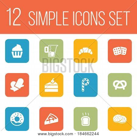 Set Of 12  Icons Set.Collection Of Shortcake, Wafer, Muffin And Other Elements.