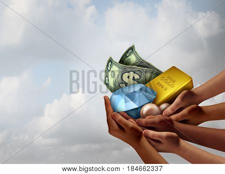 Community wealth and prosperity economic symbol as a group of diverse hands holding a diamond gold pearls and money as a financial social support metaphor with 3D illustration elements.
