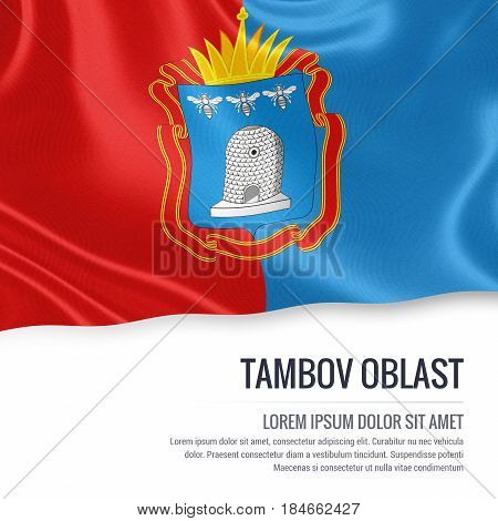 Russian state Tambov Oblast flag waving on an isolated white background. State name and the text area for your message. 3D illustration.