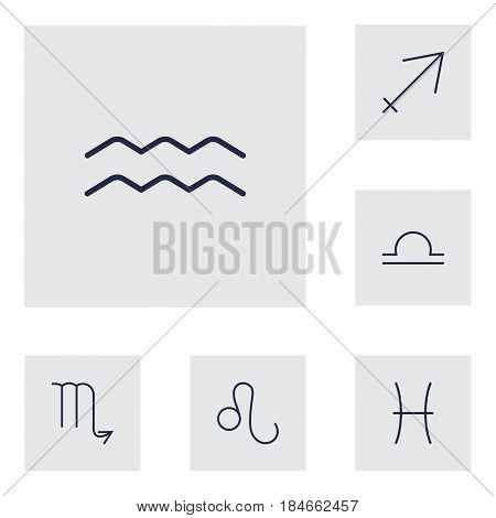 Set Of 6 Galaxy Outline Icons Set.Collection Of Sagittarius, Pisces, Aqurius And Other Elements.