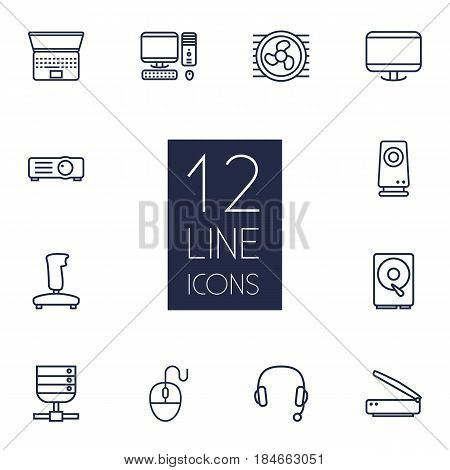 Set Of 12 Laptop Outline Icons Set.Collection Of Computer Mouse, Scanner, Projector And Other Elements.