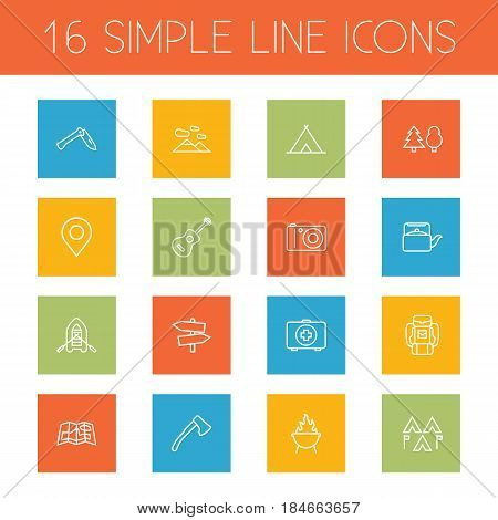 Set Of 16 Outdoor Outline Icons Set.Collection Of Rubber Boat, Teapot, Guidepost And Other Elements.