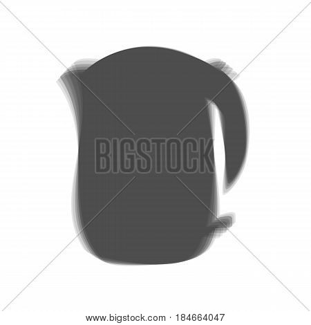 Electric kettle sign. Vector. Gray icon shaked at white background.