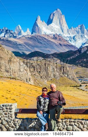 Couple of nice pensioners take a selfie at fantastic rocks Fitz Roy