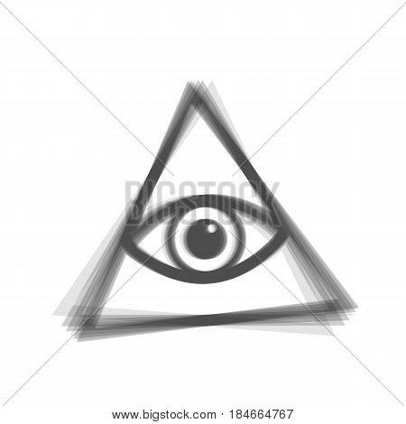 All seeing eye pyramid symbol. Freemason and spiritual. Vector. Gray icon shaked at white background.