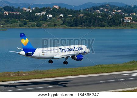 CORFU, GREECE - APRIL 25 2017: A Thomas Cook Boeing 767 on approach in Corfu, Greece. Thomas Cook is a British charter airline