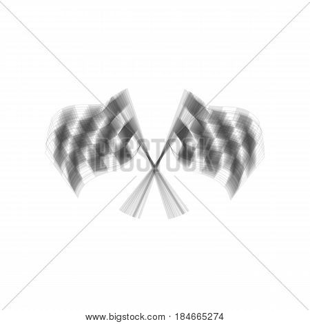 Crossed checkered flags logo waving in the wind conceptual of motor sport. Vector. Gray icon shaked at white background.