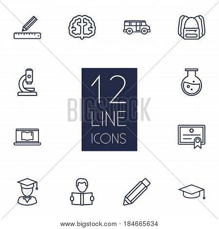 Set Of 12 Studies Outline Icons Set.Collection Of Laptop, Brain, Graduated And Other Elements.