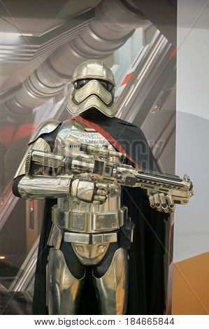HONG KONG - CIRCA DECEMBER, 2015: Captain Phasma life-sized movie character displayed at exhibition on second floor in Times Square