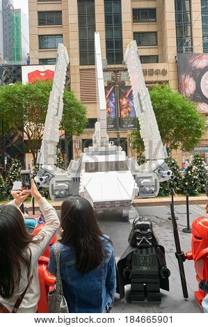 HONG KONG - CIRCA DECEMBER, 2015: Imperial Shuttle known as Lambda-class T-4a at the Force Awakens exhibition in Times Square