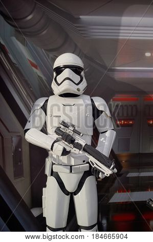 HONG KONG - CIRCA DECEMBER, 2015: Stormtrooper life-sized movie character displayed at exhibition on second floor in Times Square