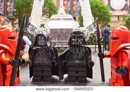 HONG KONG - CIRCA DECEMBER, 2015: life-sized Lego figures at the Force Awakens exhibition in Times Square