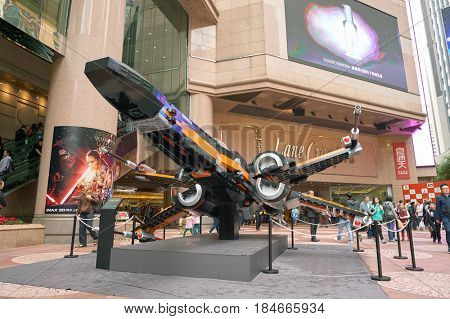 HONG KONG - CIRCA DECEMBER, 2015: Resistance X-Wing at the Force Awakens exhibition in Times Square