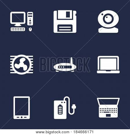 Set Of 9 Laptop Icons Set.Collection Of Supply, Diskette, Router And Other Elements.