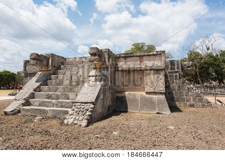 Platform of the eagles and jaguars in the ruined Mayan city of Chichen Itza in Mexico