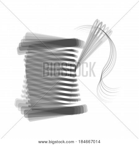 Thread with needle sign illustration. Vector. Gray icon shaked at white background.