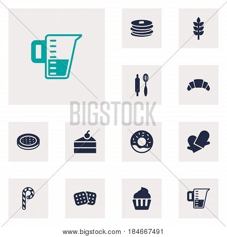 Set Of 12  Icons Set.Collection Of Muffin, Striped Lollipop, Whisk And Other Elements.