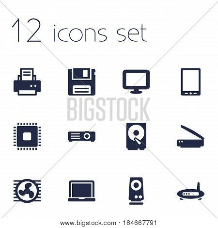 Set Of 12 Notebook Icons Set.Collection Of Fan, Hard Disk, Display And Other Elements.