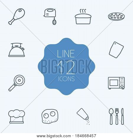 Set Of 12 Culinary Outline Icons Set.Collection Of Cutlery, Salt, Mixer And Other Elements.