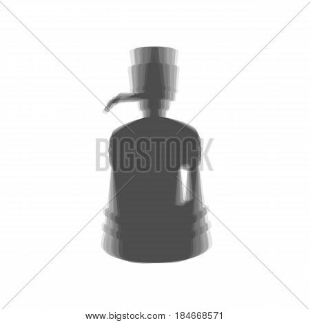 Plastic bottle silhouette with water and siphon. Vector. Gray icon shaked at white background.