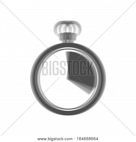 The 20 seconds, minutes stopwatch sign. Vector. Gray icon shaked at white background.