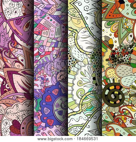Set Of Tracery Colorful Seamless Patterns. Curved Doodling Backgrounds For Textile Or Printing With