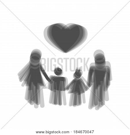 Family symbol with heart. Husband and wife are kept children's hands. Vector. Gray icon shaked at white background.