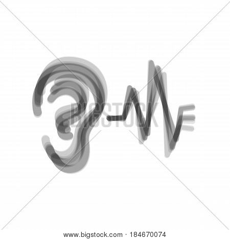 Ear hearing sound sign. Vector. Gray icon shaked at white background.