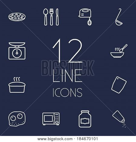 Set Of 12 Kitchen Outline Icons Set.Collection Of Scales, Omelette, Cutlery And Other Elements.