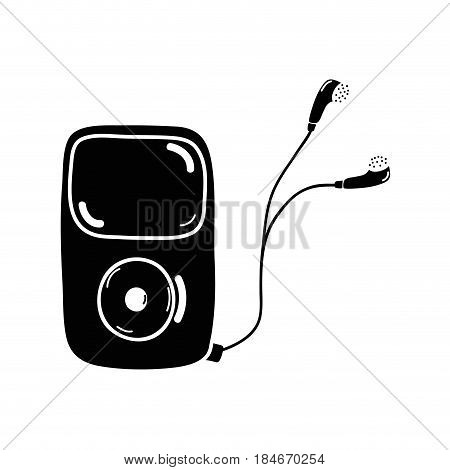 contour mp3 player with headphones to listen music, vector illustration