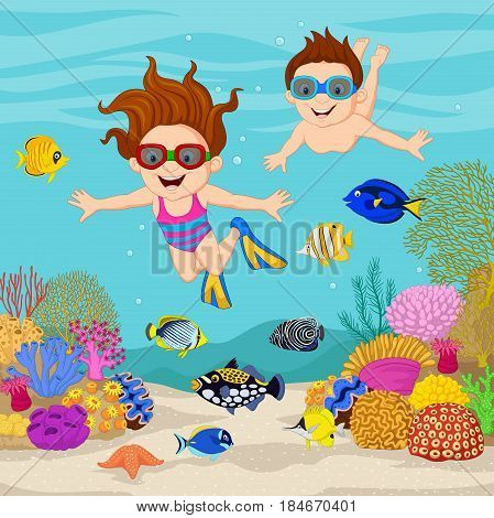 Vector illustration of Cartoon kids diving under the tropical ocean