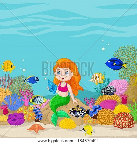 Vector illustration of Cartoon underwater world with little mermaid holding seashell