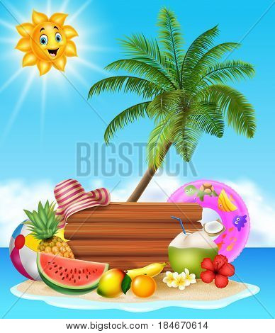 Vector illustration of Summer holiday background with tropical fruits