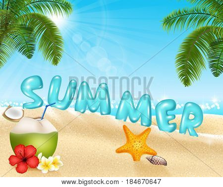 Vector illustration of Summer beach background in morning