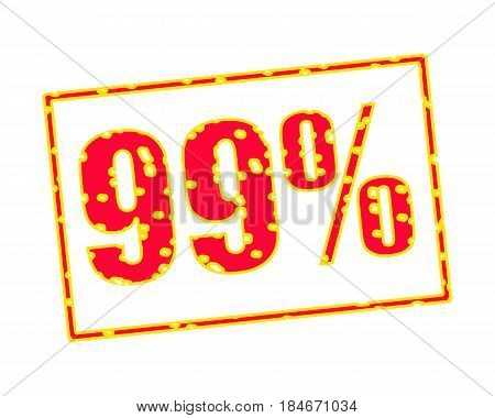 99% RED-YELLOW Stamp Text on white backgroud
